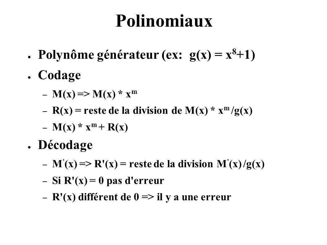 Polinomiaux Polynôme générateur (ex: g(x) = x8+1) Codage Décodage