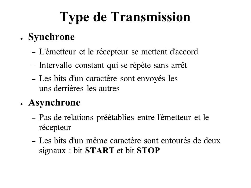 Type de Transmission Synchrone Asynchrone