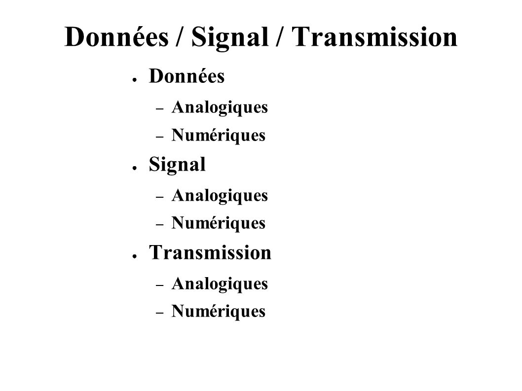 Données / Signal / Transmission