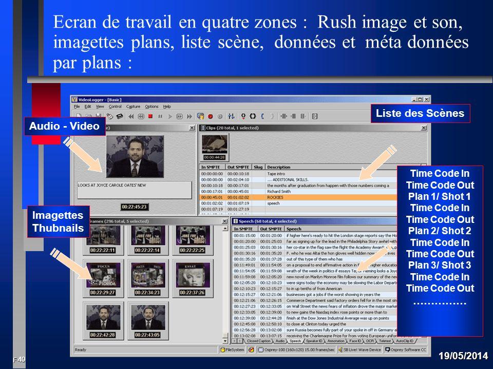 Ecran de travail en quatre zones : Rush image et son, imagettes plans, liste scène, données et méta données par plans :