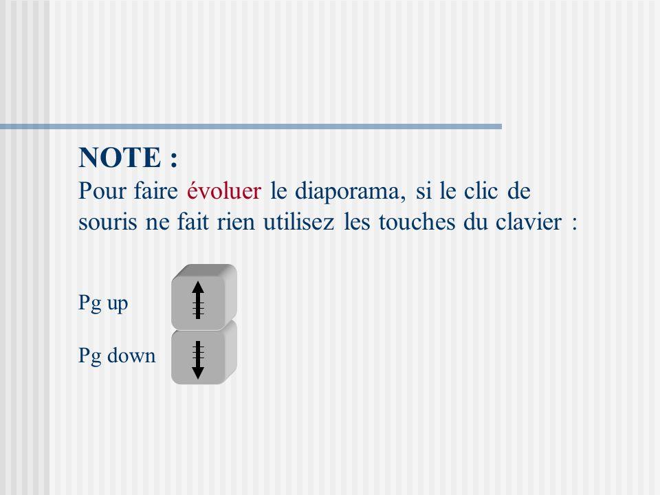 NOTE : Pour faire évoluer le diaporama, si le clic de souris ne fait rien utilisez les touches du clavier :