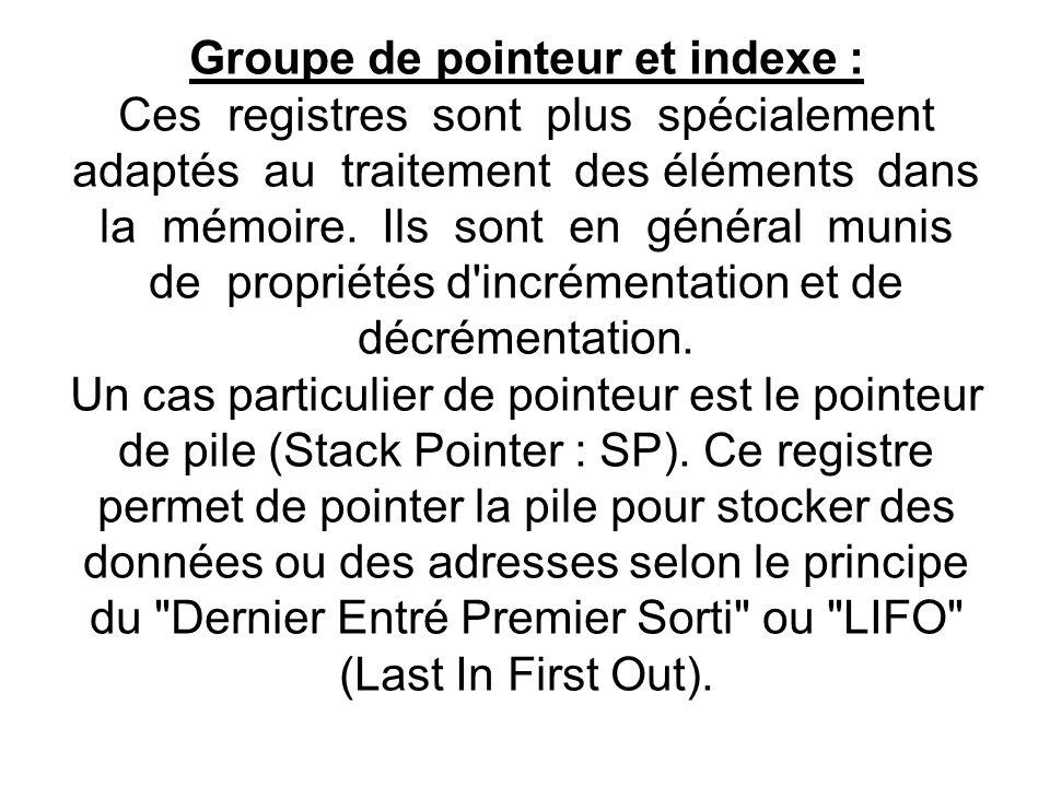 Groupe de pointeur et indexe : Ces registres sont plus spécialement adaptés au traitement des éléments dans la mémoire.