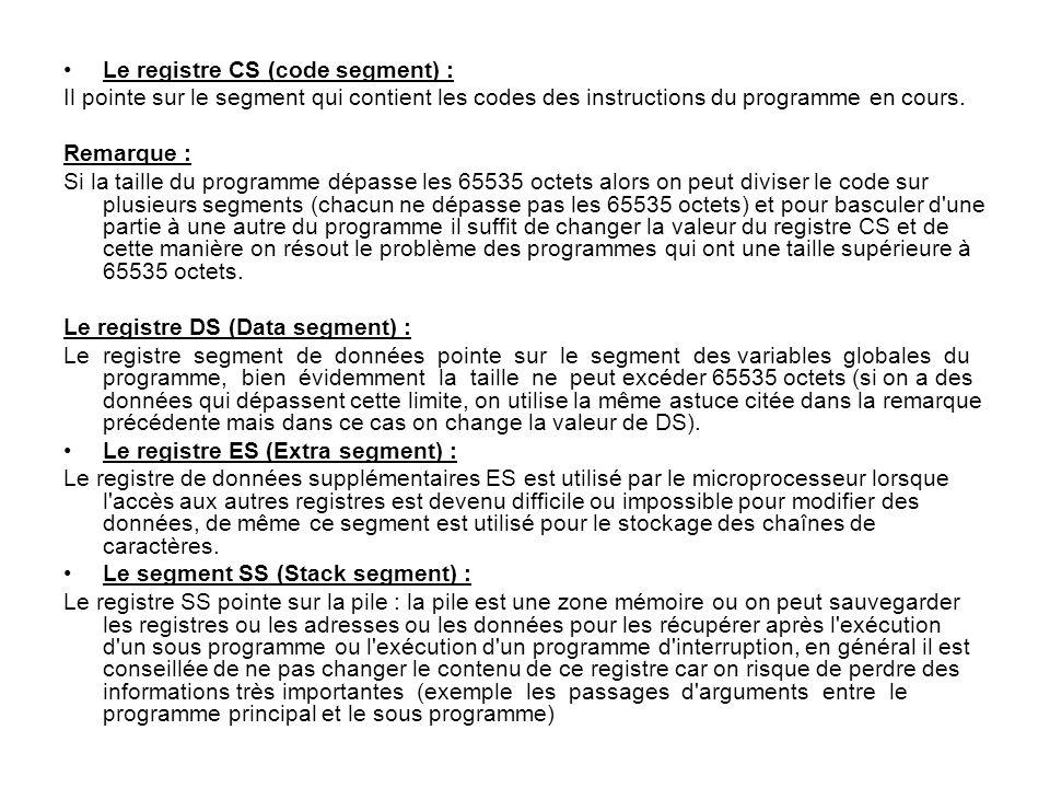 Le registre CS (code segment) :