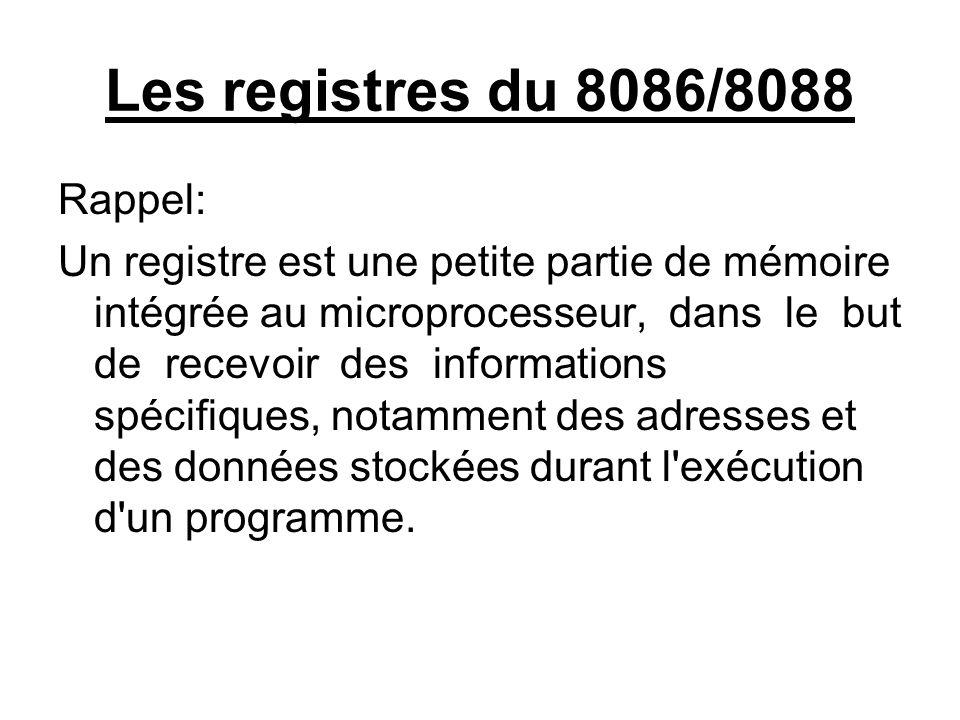 Les registres du 8086/8088 Rappel: