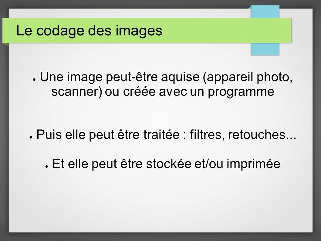 Le codage des images Une image peut-être aquise (appareil photo, scanner) ou créée avec un programme.