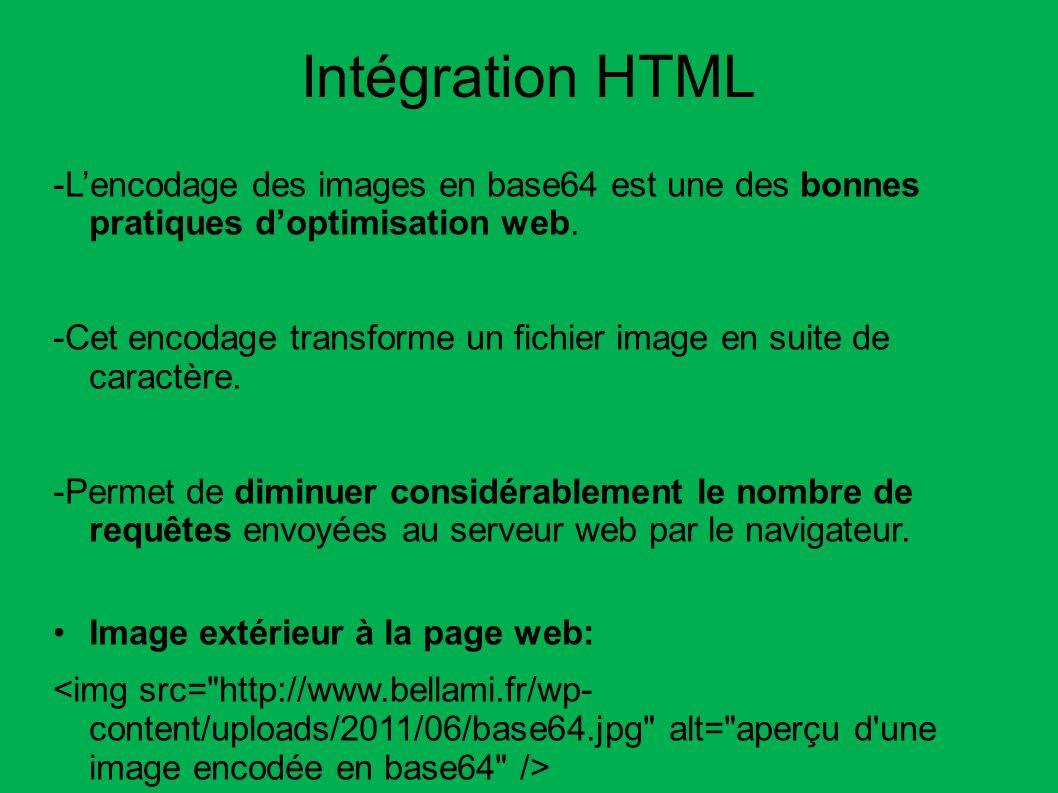 Intégration HTML -L'encodage des images en base64 est une des bonnes pratiques d'optimisation web.
