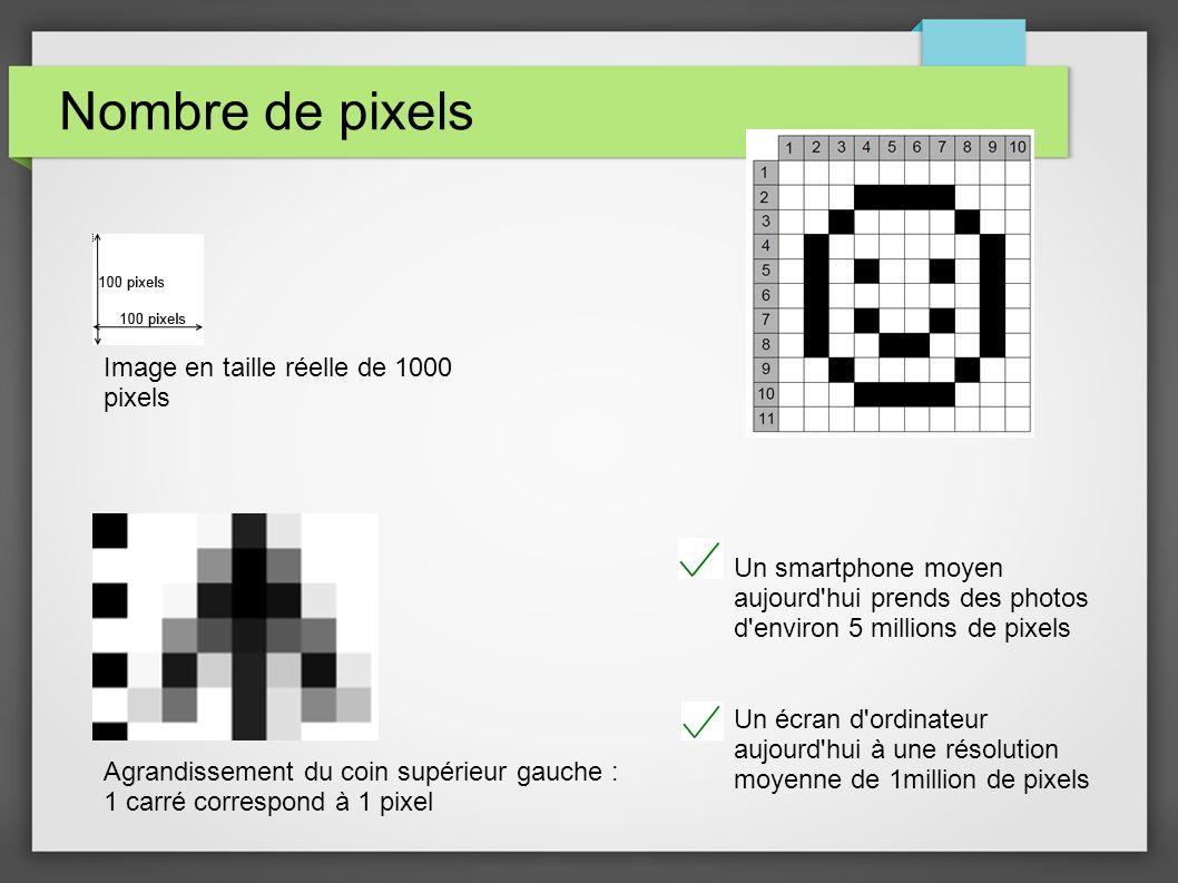 Nombre de pixels Image en taille réelle de 1000 pixels