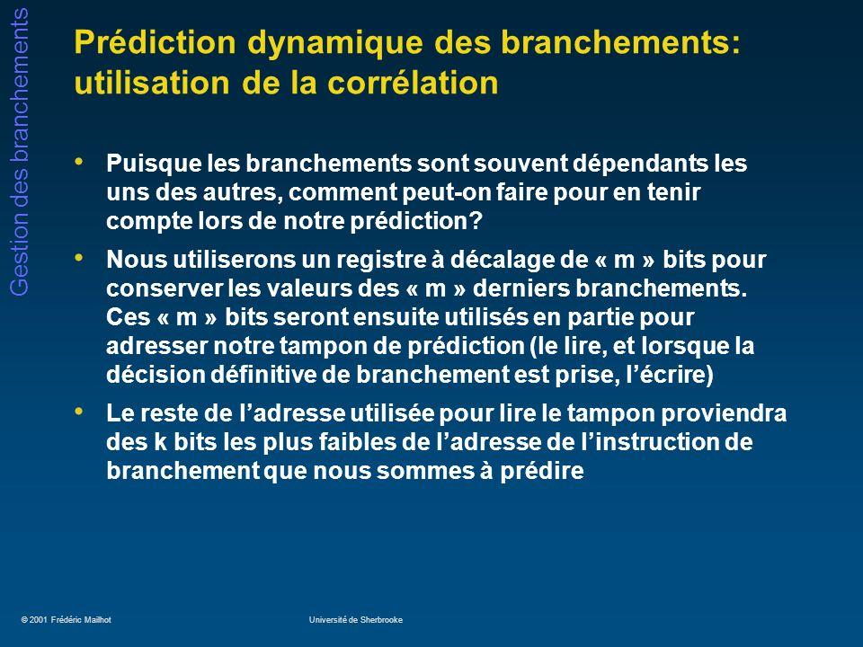 Prédiction dynamique des branchements: utilisation de la corrélation