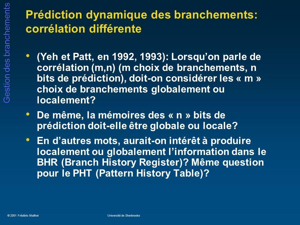 Prédiction dynamique des branchements: corrélation différente