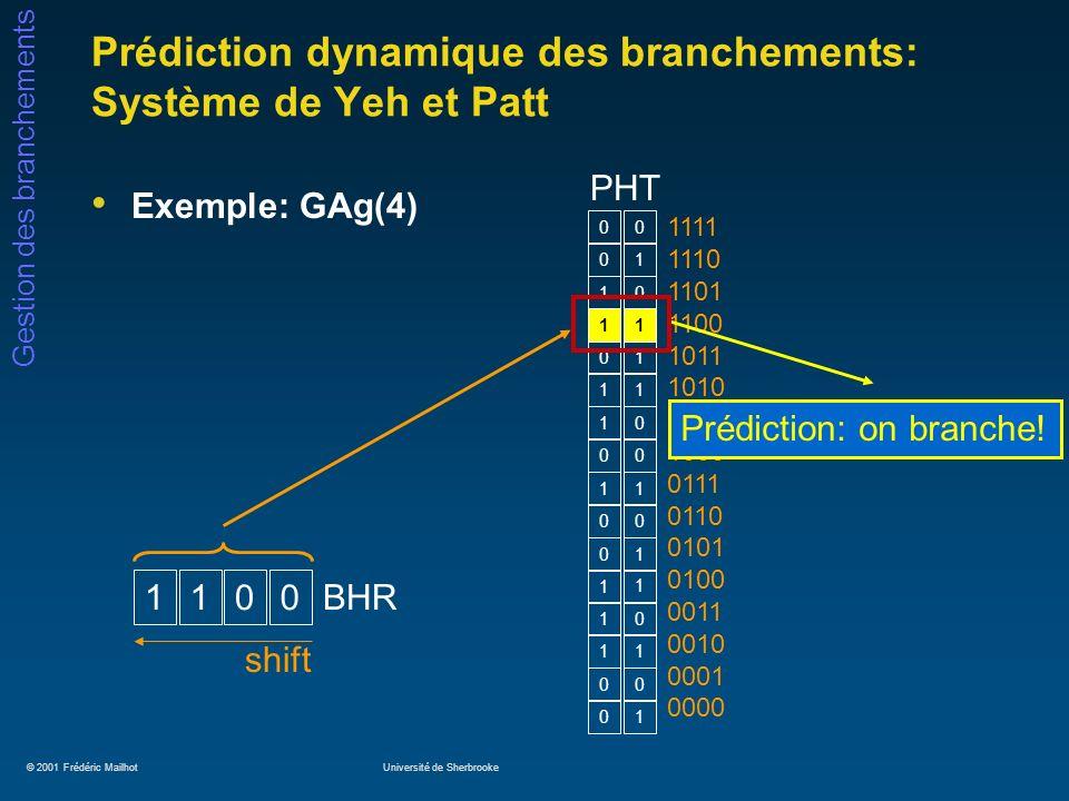 Prédiction dynamique des branchements: Système de Yeh et Patt