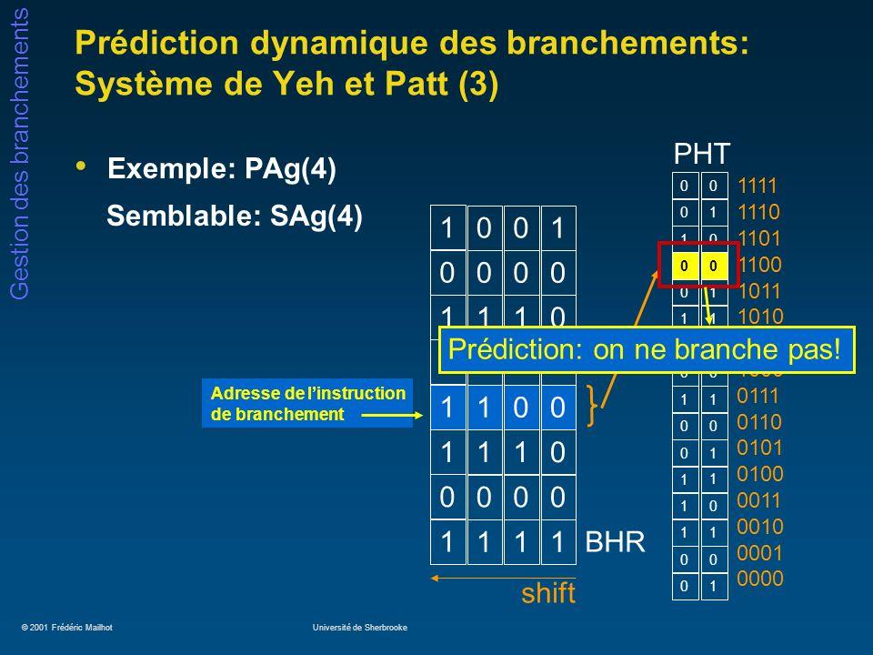 Prédiction dynamique des branchements: Système de Yeh et Patt (3)