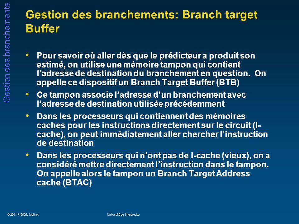 Gestion des branchements: Branch target Buffer