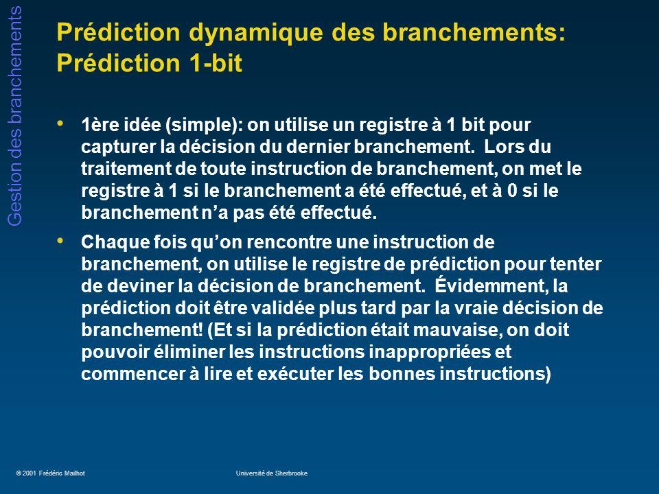 Prédiction dynamique des branchements: Prédiction 1-bit