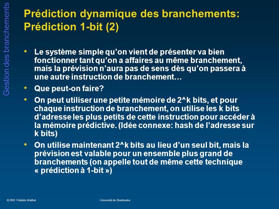 Prédiction dynamique des branchements: Prédiction 1-bit (2)