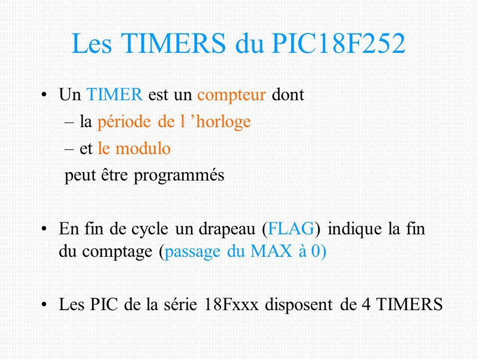 Les TIMERS du PIC18F252 Un TIMER est un compteur dont