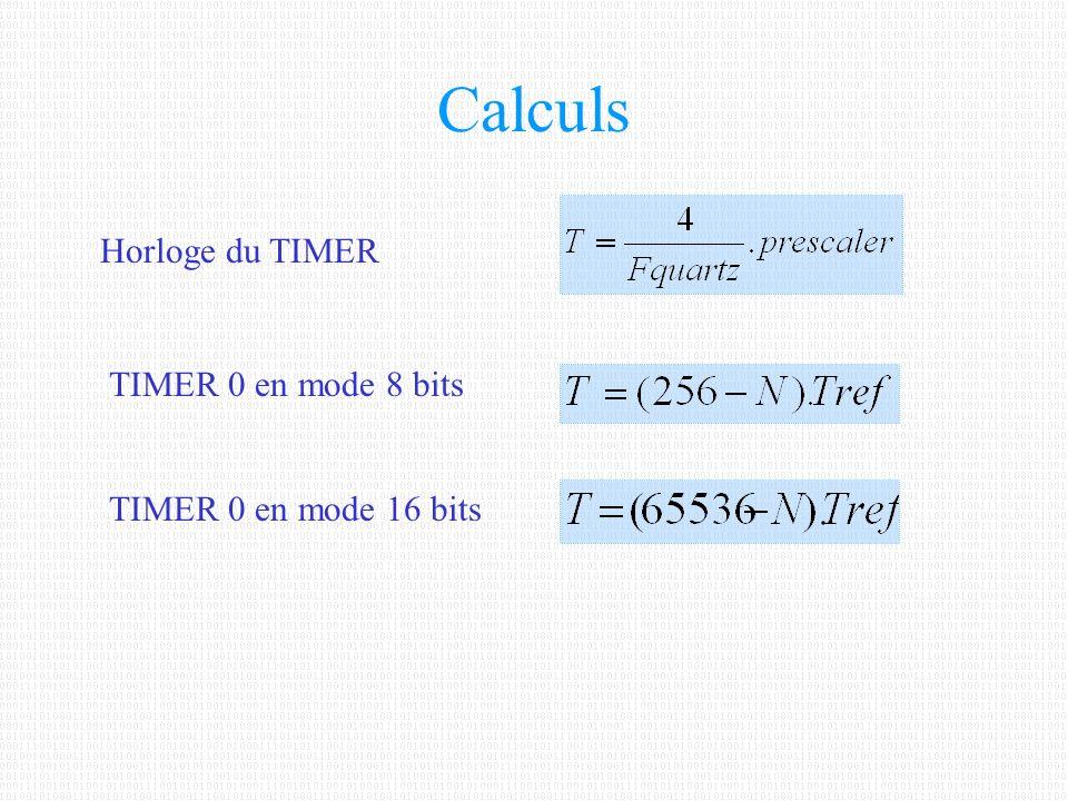 Calculs Horloge du TIMER TIMER 0 en mode 8 bits