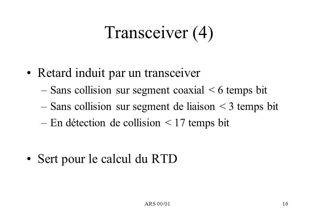 Transceiver (4) Retard induit par un transceiver