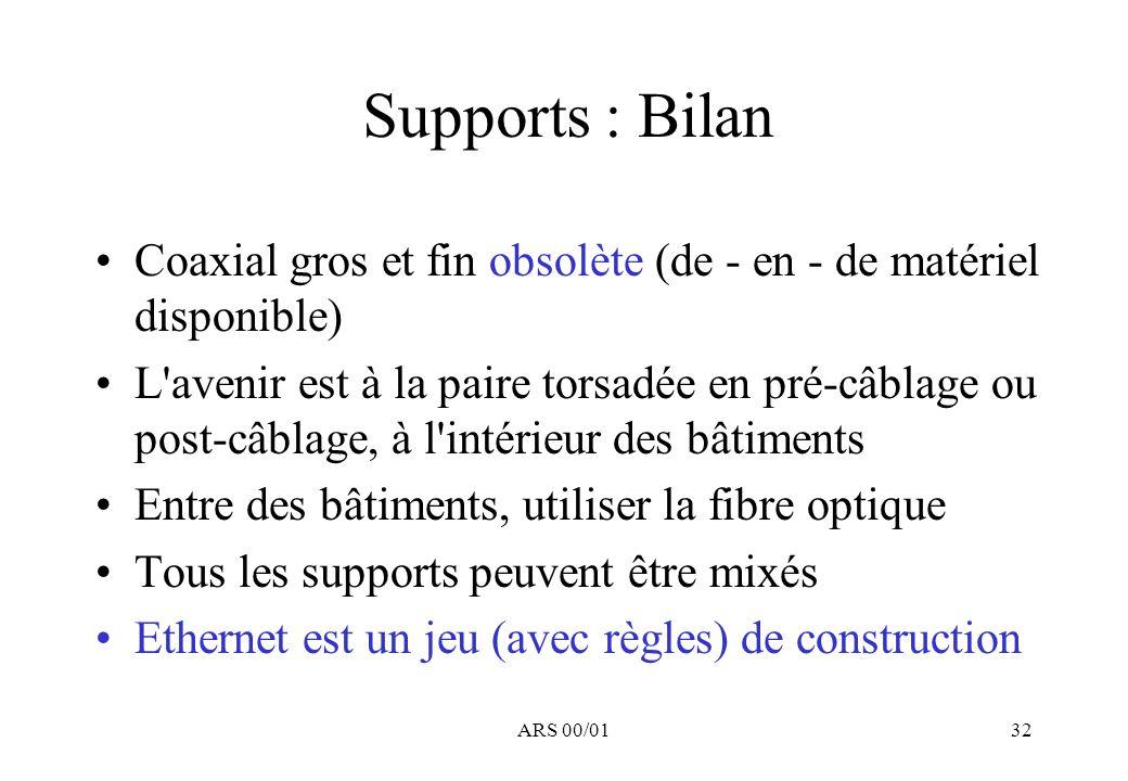 Supports : Bilan Coaxial gros et fin obsolète (de - en - de matériel disponible)
