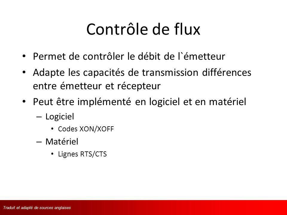 Contrôle de flux Permet de contrôler le débit de l`émetteur