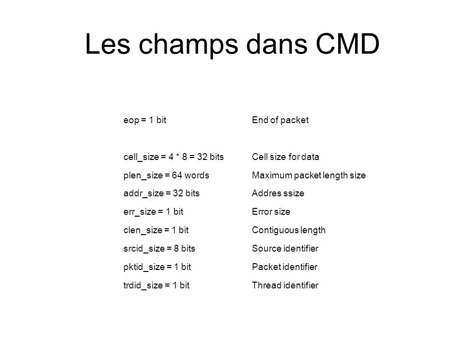Les champs dans CMD eop = 1 bit End of packet