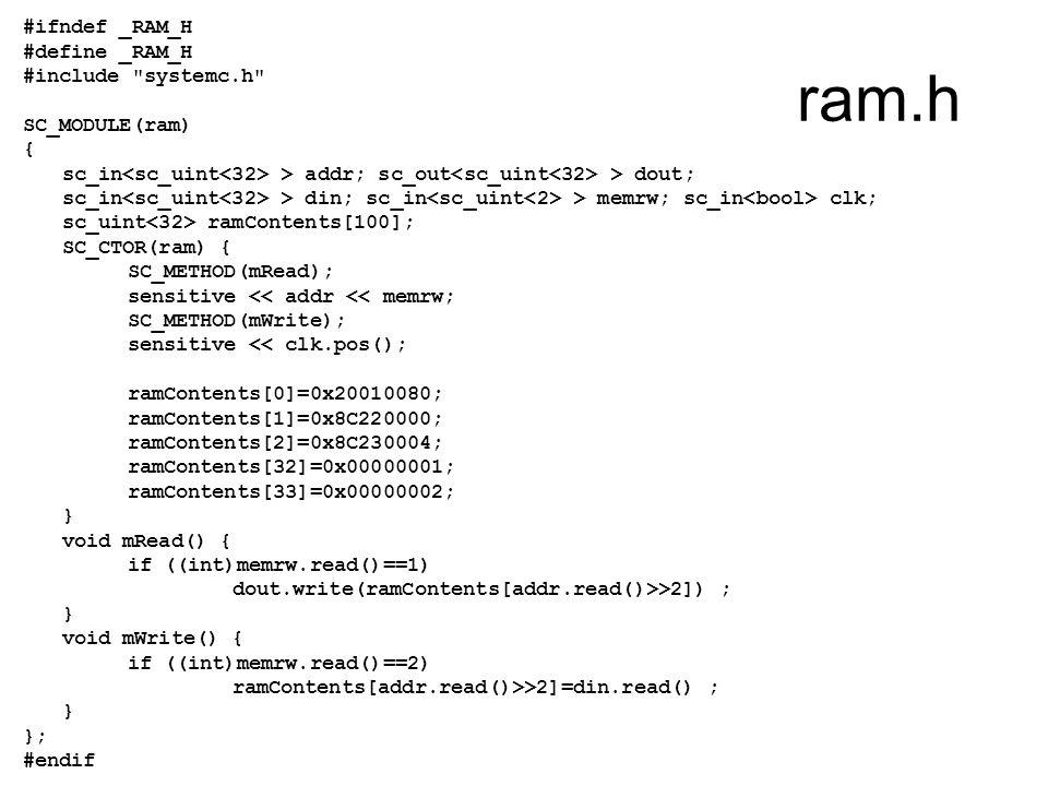ram.h #ifndef _RAM_H #define _RAM_H #include systemc.h