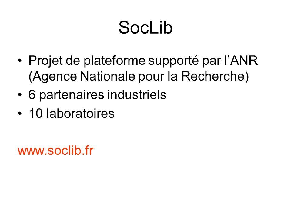 SocLib Projet de plateforme supporté par l'ANR (Agence Nationale pour la Recherche) 6 partenaires industriels.