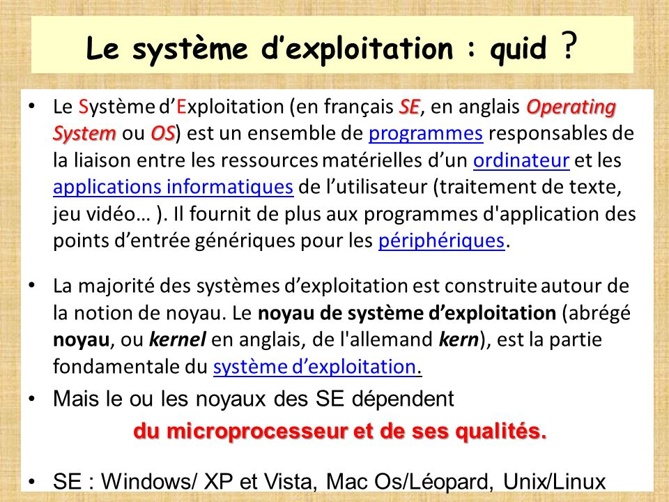 Le système d'exploitation : quid