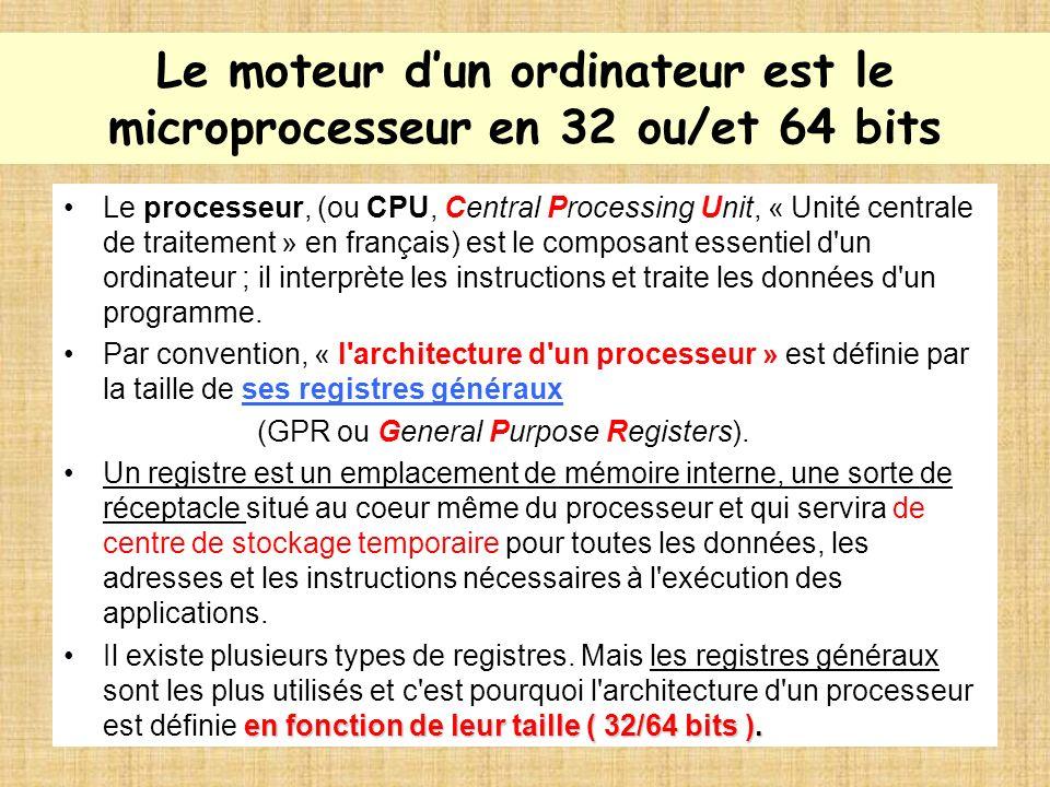 Le moteur d'un ordinateur est le microprocesseur en 32 ou/et 64 bits