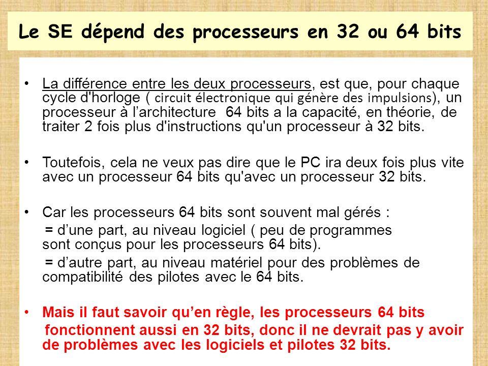 Le SE dépend des processeurs en 32 ou 64 bits