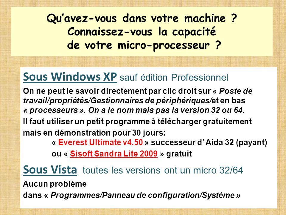 Sous Windows XP sauf édition Professionnel