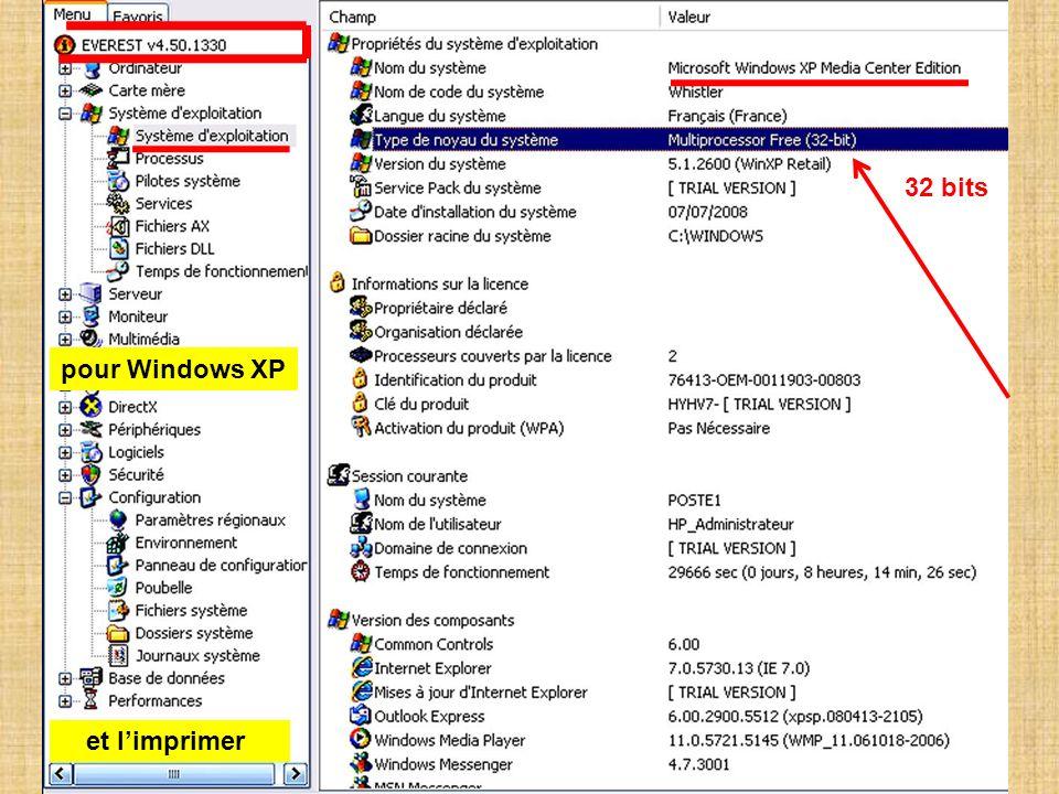 32 bits pour Windows XP et l'imprimer