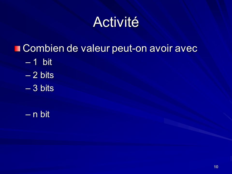 Activité Combien de valeur peut-on avoir avec 1 bit 2 bits 3 bits
