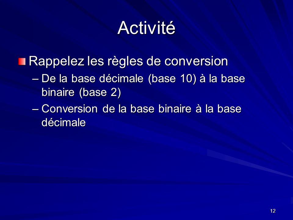 Activité Rappelez les règles de conversion