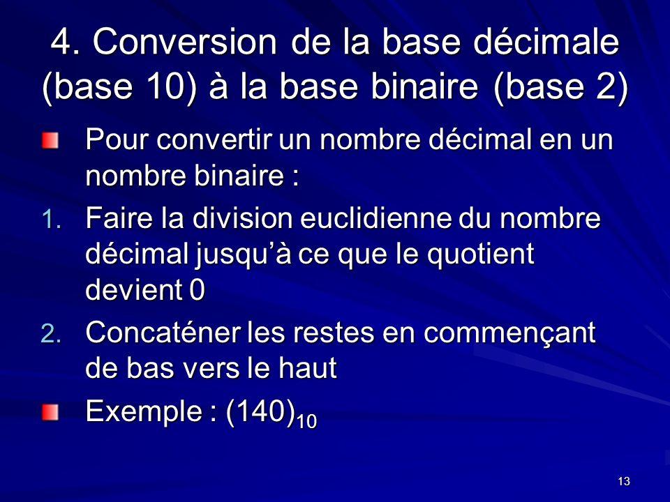 4. Conversion de la base décimale (base 10) à la base binaire (base 2)