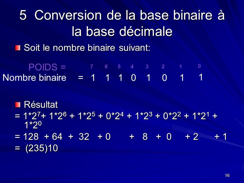5 Conversion de la base binaire à la base décimale