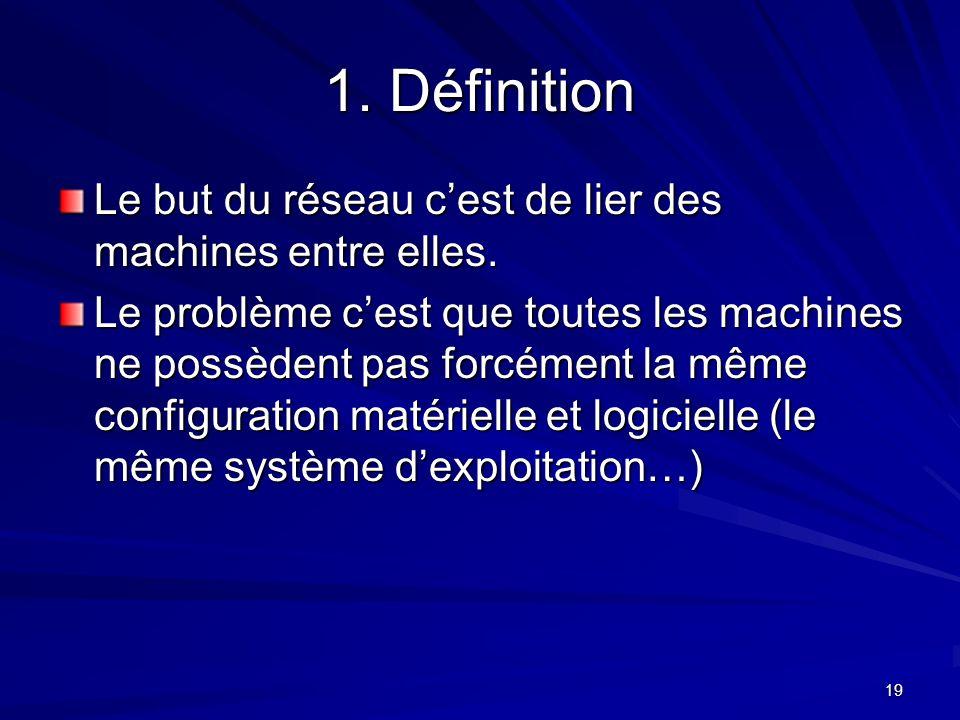 1. Définition Le but du réseau c'est de lier des machines entre elles.