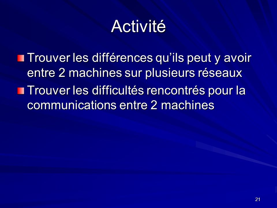 Activité Trouver les différences qu'ils peut y avoir entre 2 machines sur plusieurs réseaux.