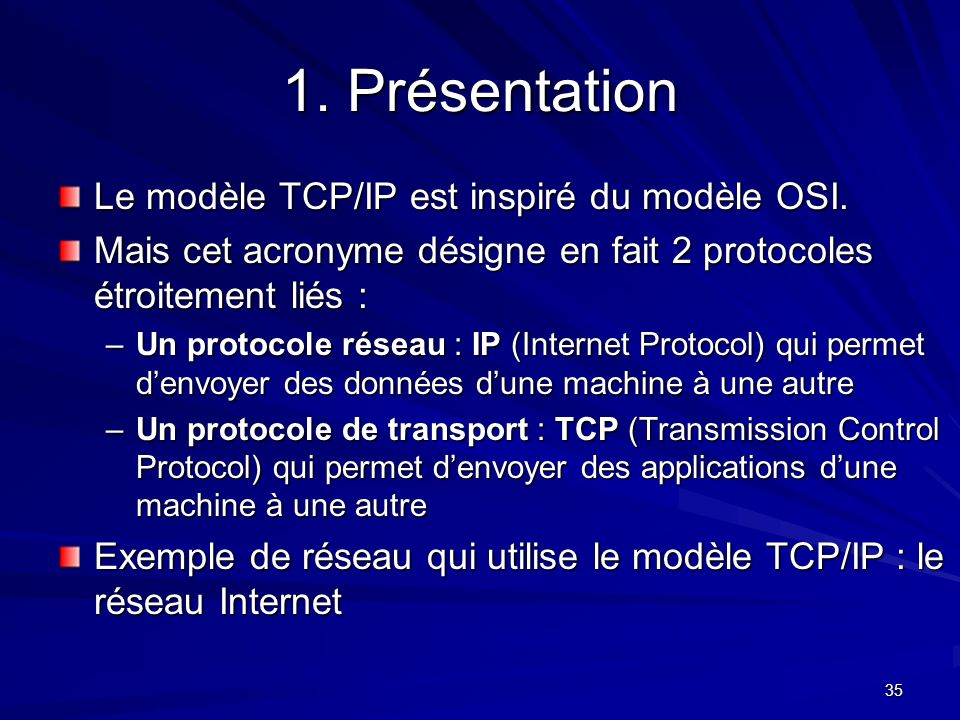 1. Présentation Le modèle TCP/IP est inspiré du modèle OSI.