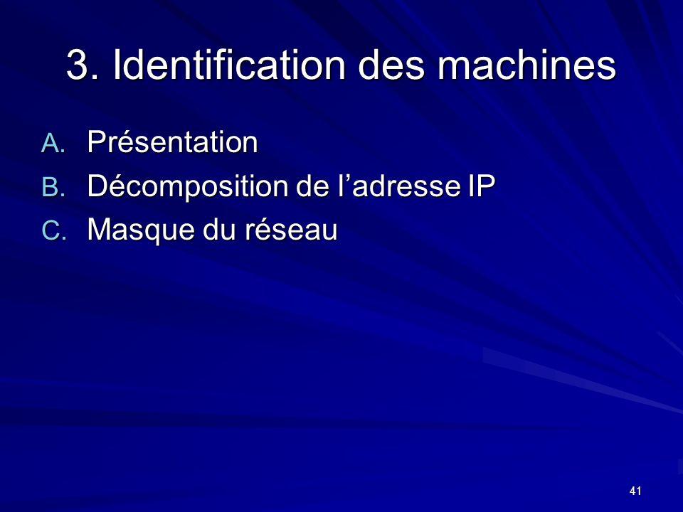 3. Identification des machines