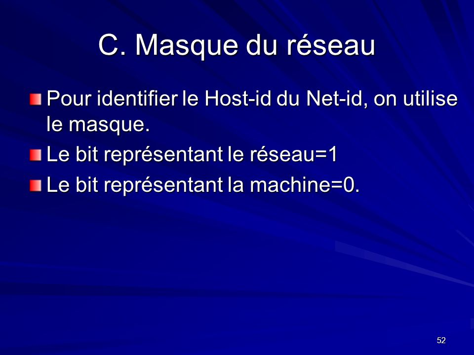 C. Masque du réseau Pour identifier le Host-id du Net-id, on utilise le masque. Le bit représentant le réseau=1.