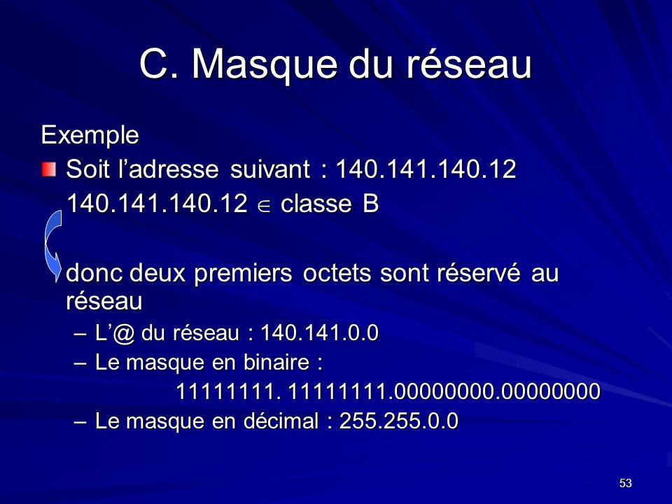 C. Masque du réseau Exemple Soit l'adresse suivant : 140.141.140.12