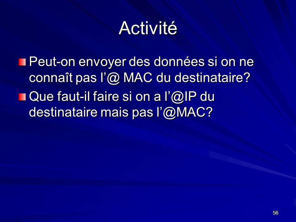 Activité Peut-on envoyer des données si on ne connaît pas l'@ MAC du destinataire.