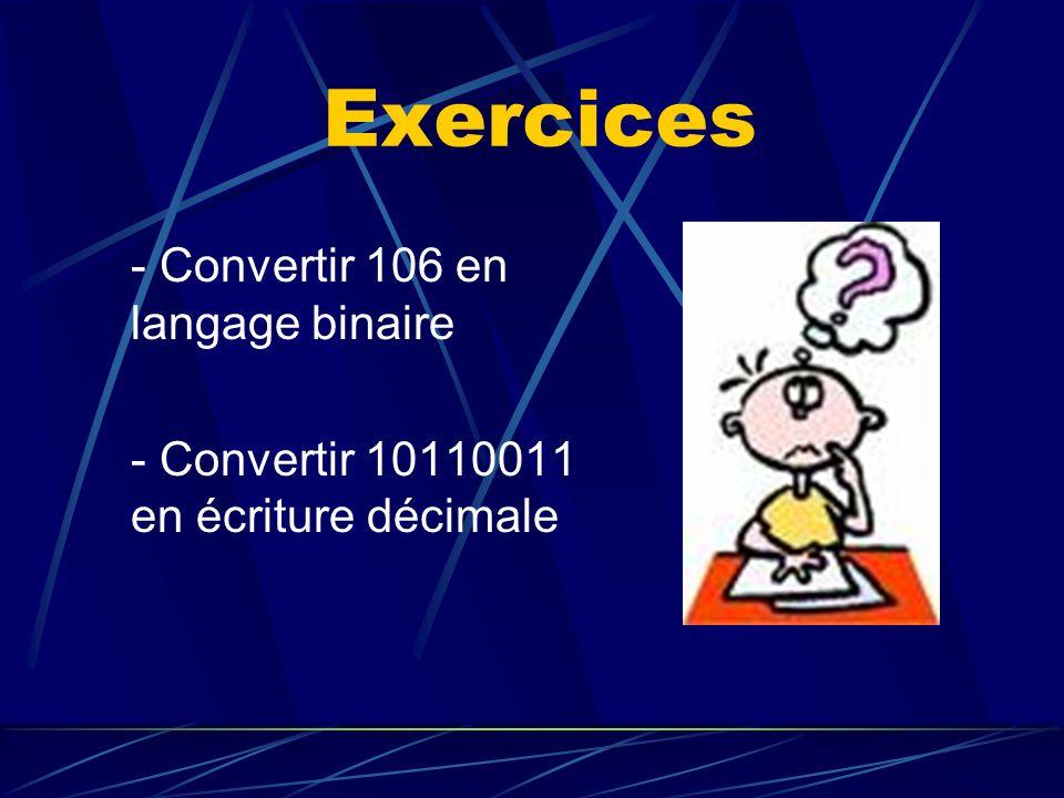 Exercices - Convertir 106 en langage binaire