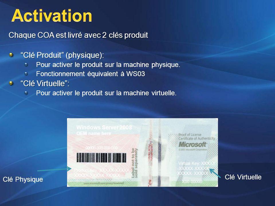 Activation Chaque COA est livré avec 2 clés produit