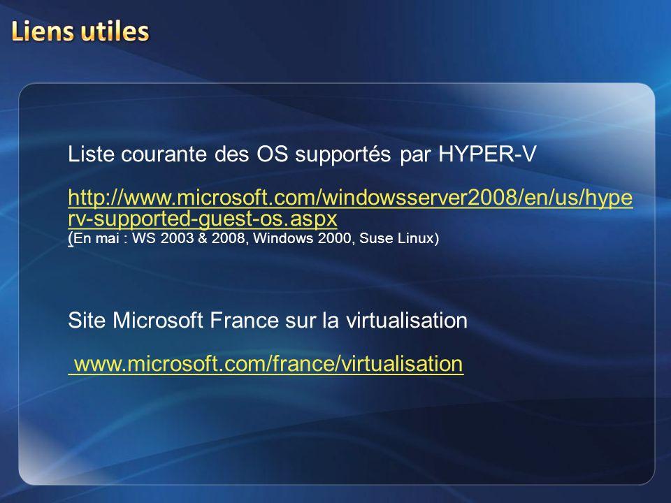 Liens utiles Liste courante des OS supportés par HYPER-V