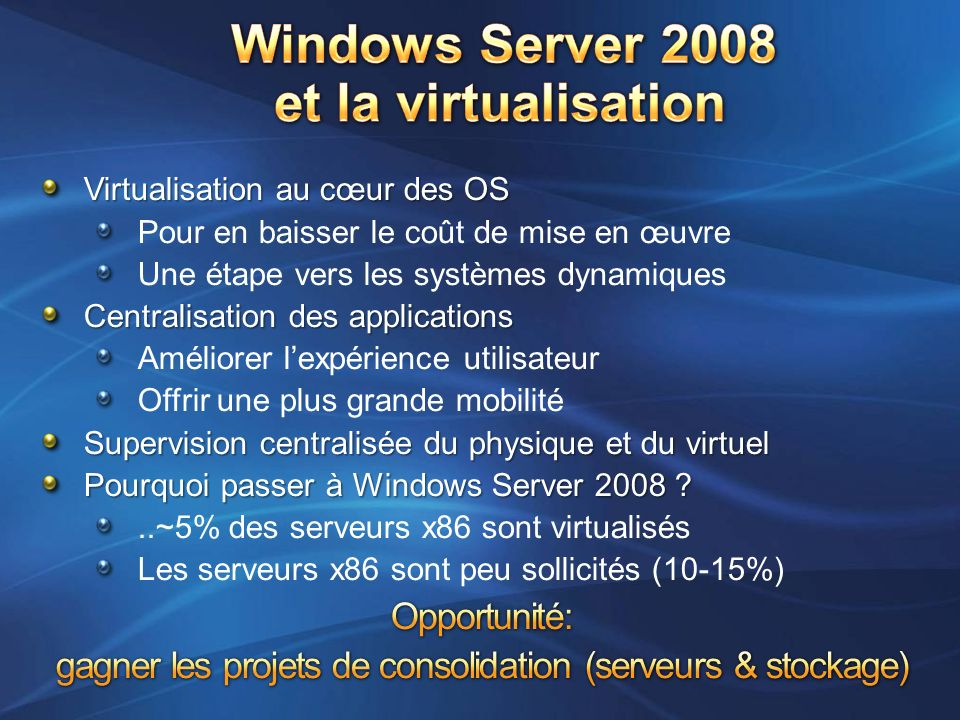 Windows Server 2008 et la virtualisation