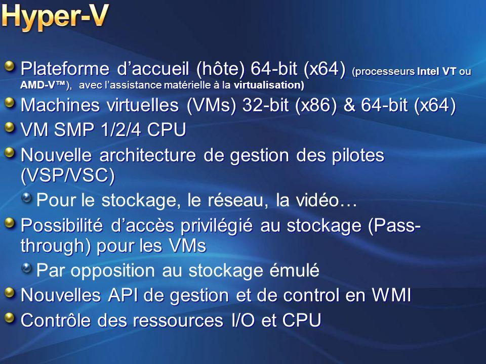 Hyper-V Plateforme d'accueil (hôte) 64-bit (x64) (processeurs Intel VT ou AMD-V™), avec l'assistance matérielle à la virtualisation)