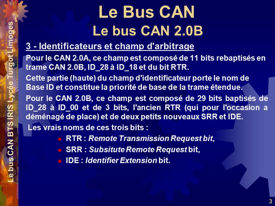 Le bus CAN BTS IRIS Lycée Turgot Limoges