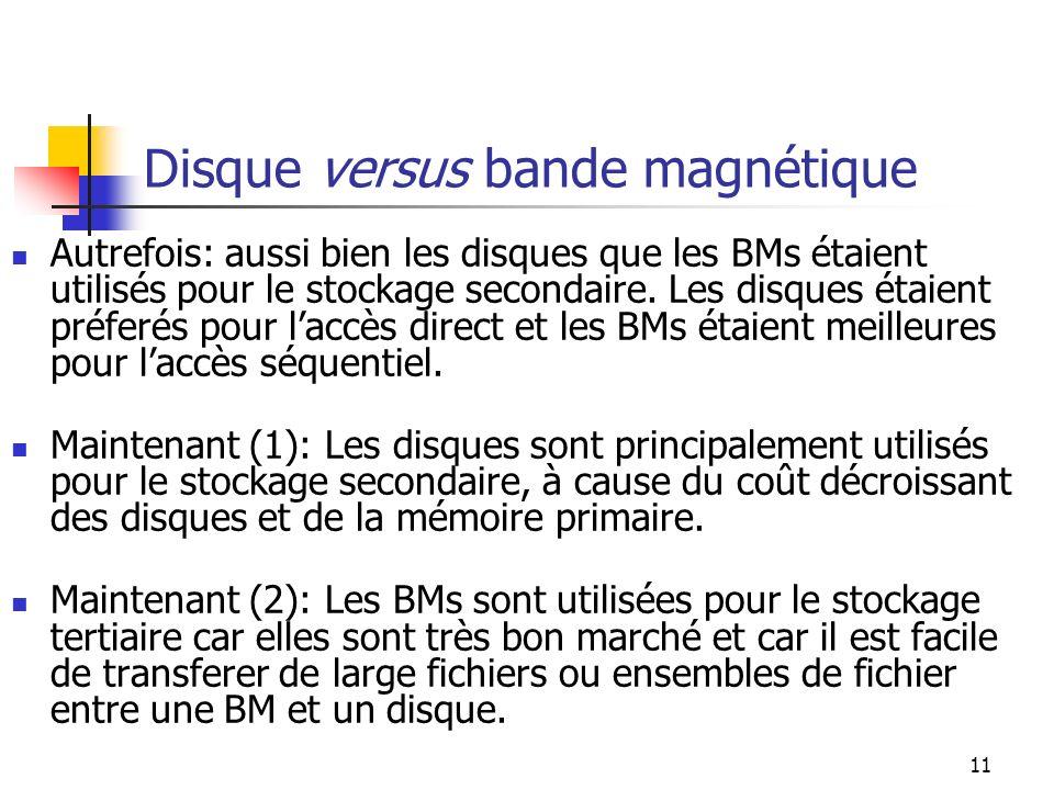 Disque versus bande magnétique