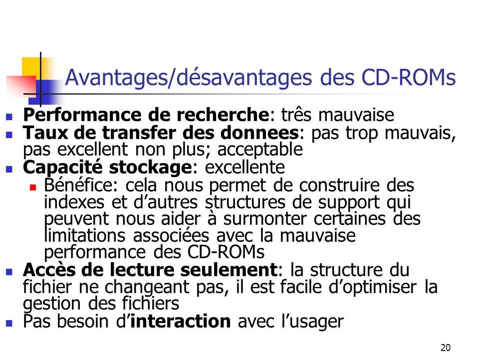 Avantages/désavantages des CD-ROMs